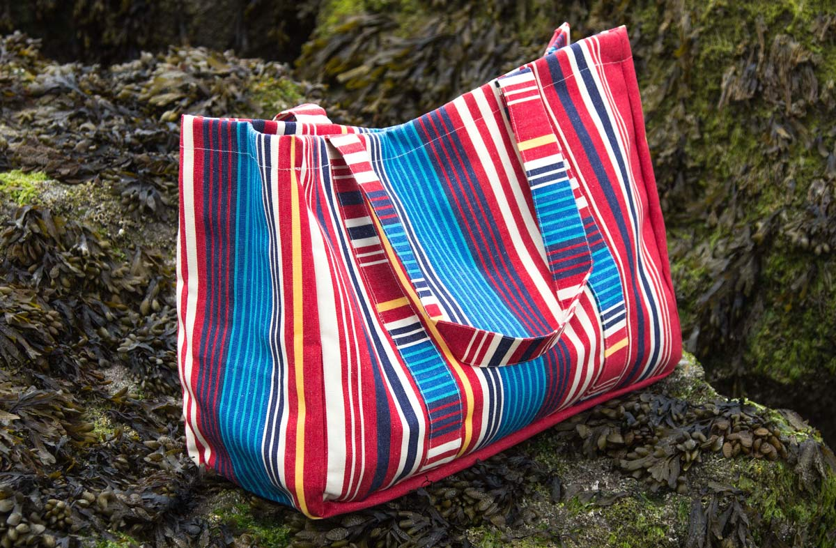 Extra Large Striped Beach Bag - Red, Blue and Cream Stripe