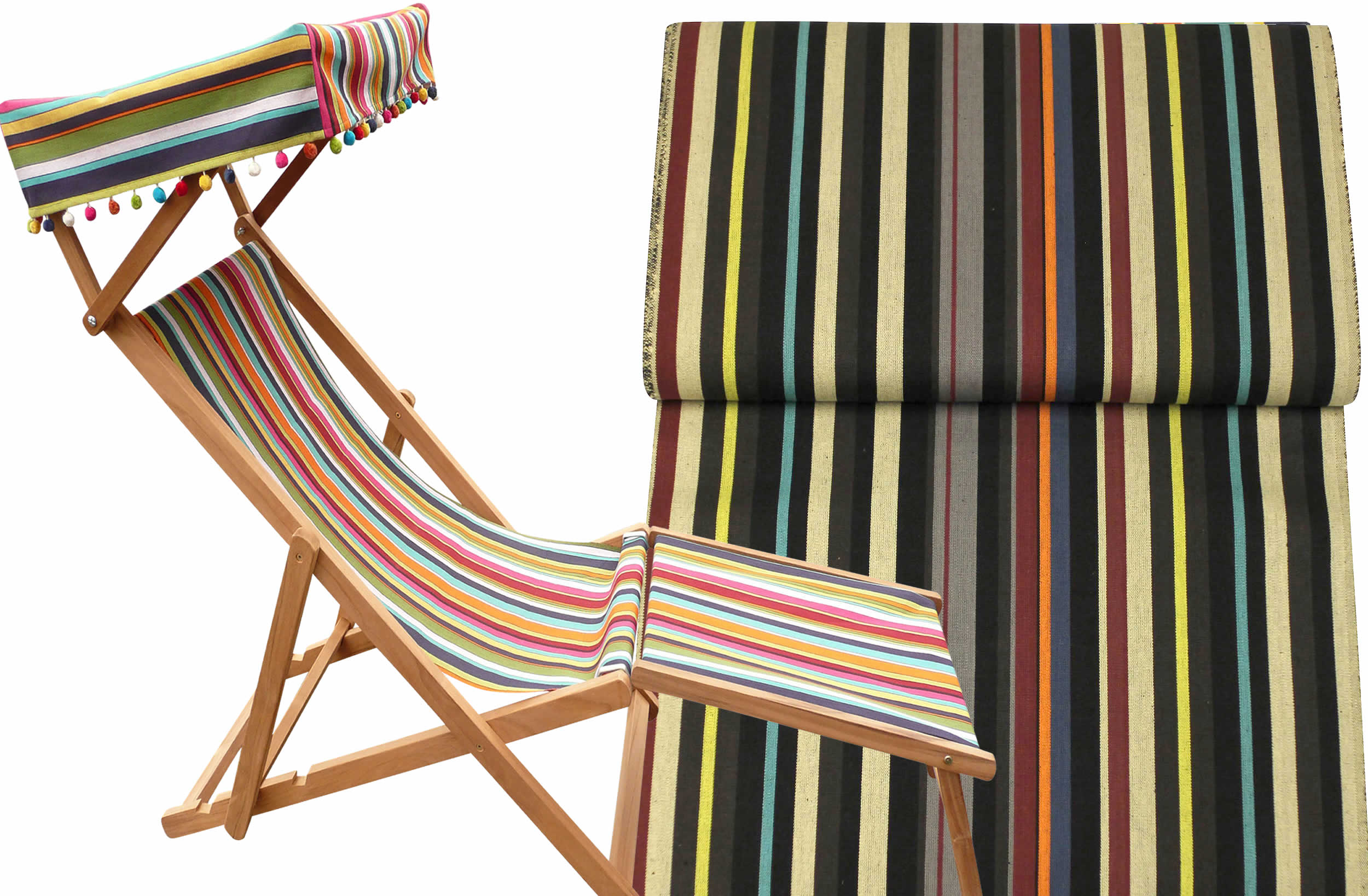 Edwardian Deckchairs with Canopy and Footstool black, beige, brown