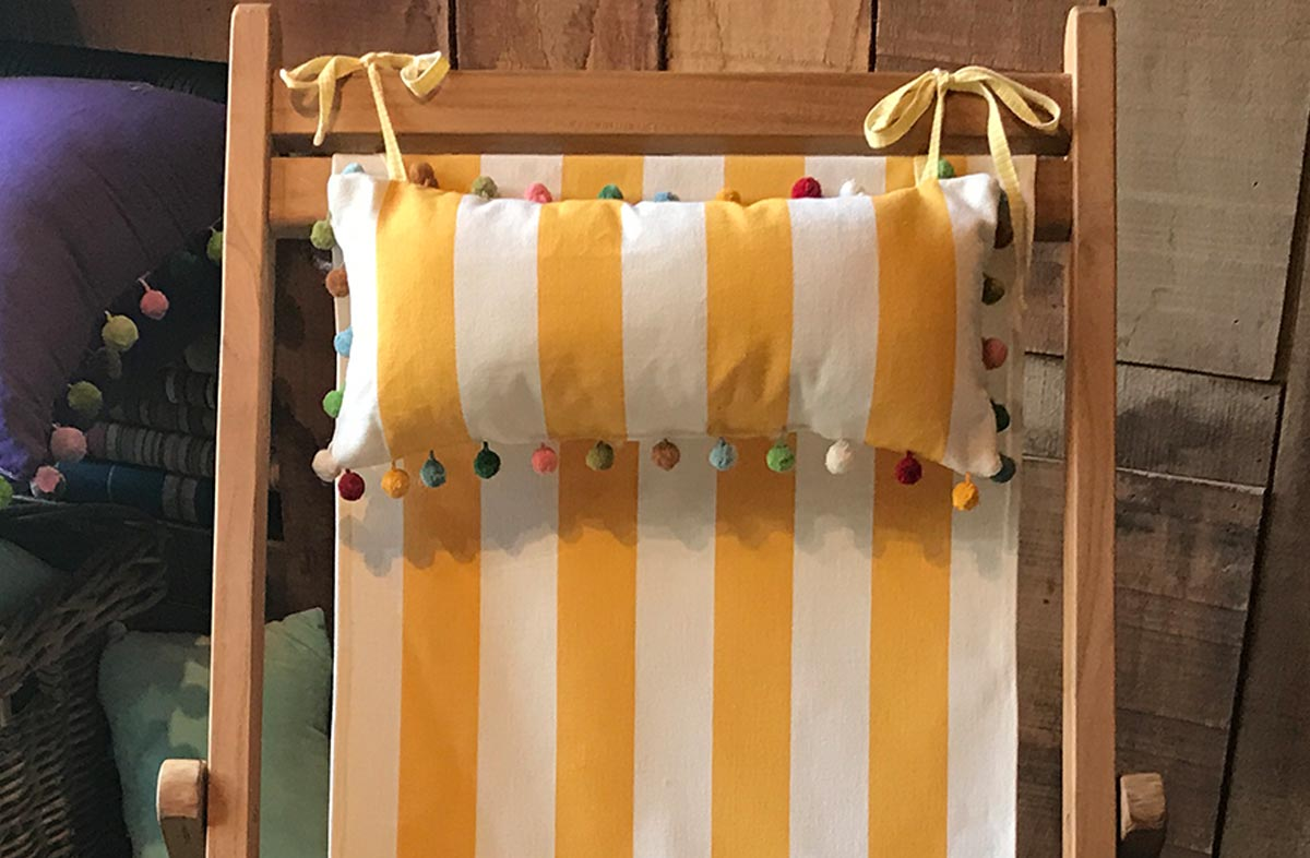 Shot Put Deckchair Headrest Cushions | Tie on Pompom Headrest Pillow yellow, white