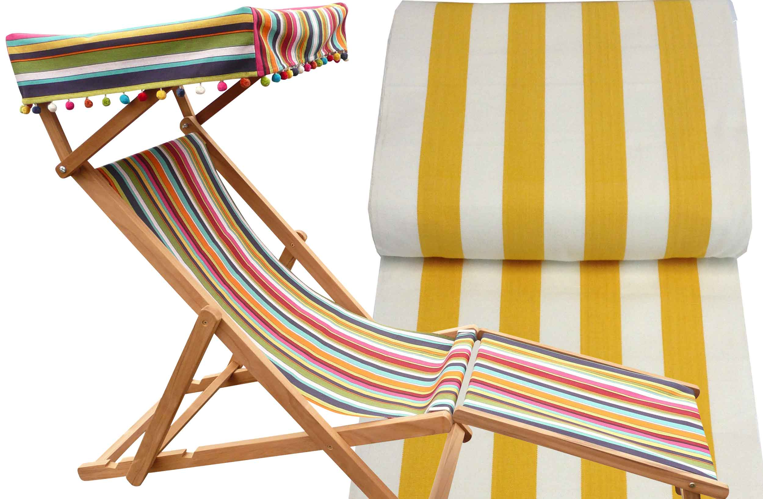 Yellow and White Edwardian Deckchairs with Canopy and Footstool