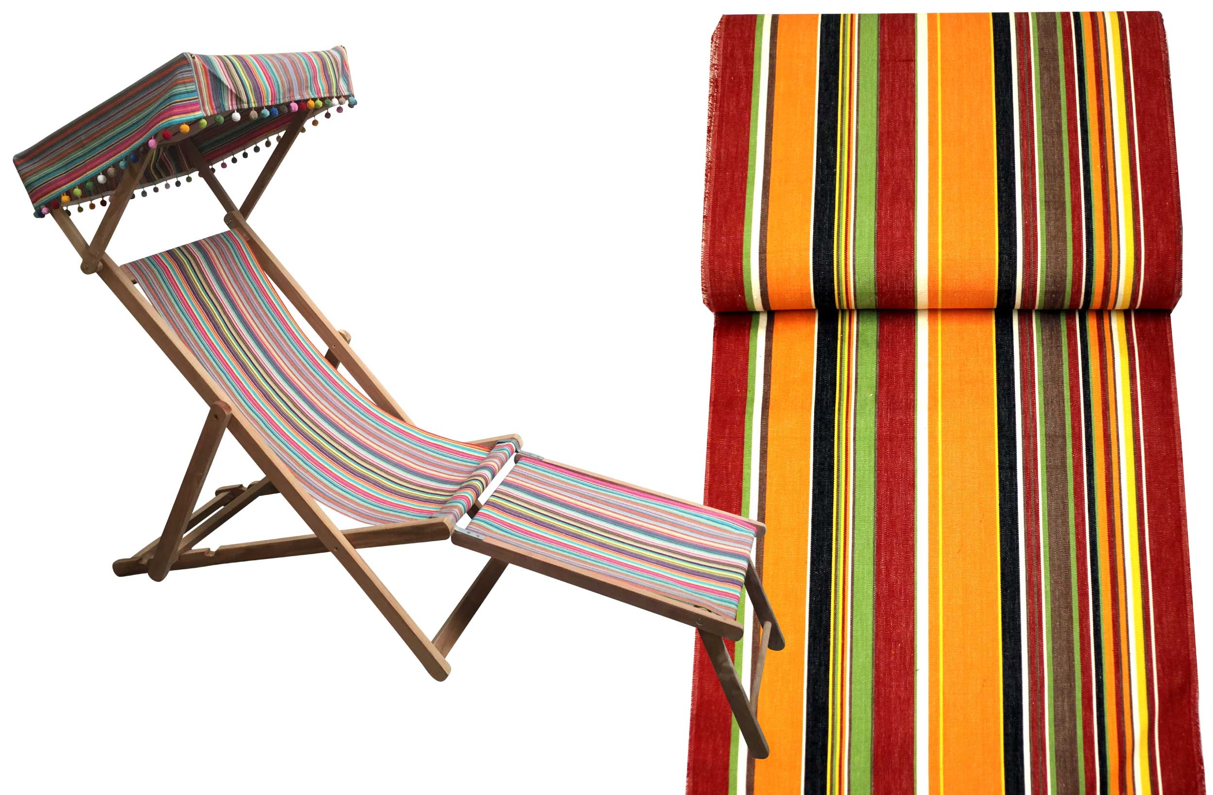 Retro Orange Vintage Style Wooden Deckchair with Canopy and Footstool