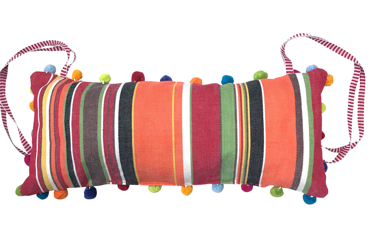 Retro Orange Stripe Deckchair Headrest Cushions | Tie on Pompom Headrest Pillow