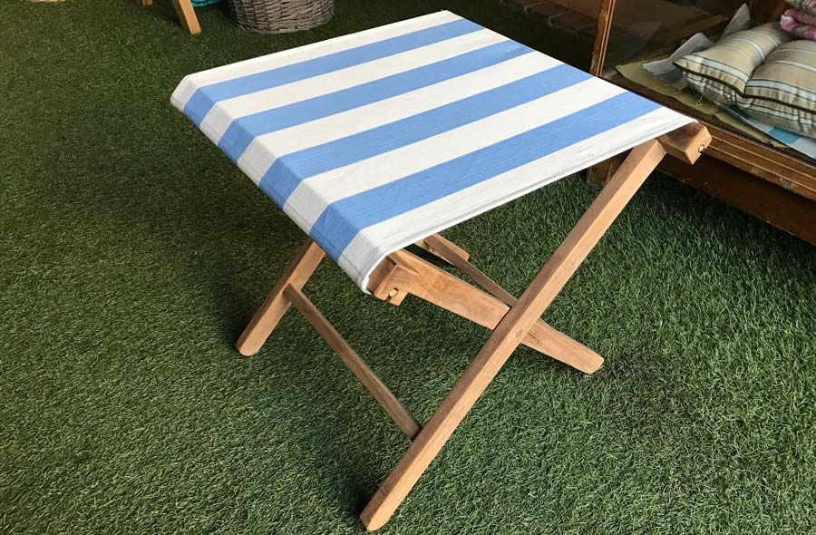 Sky Blue and White Stripe Folding Wooden Stool