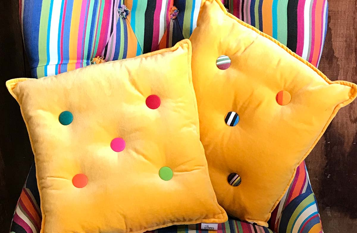 Small Yellow Velvet Cushions Plain Buttons