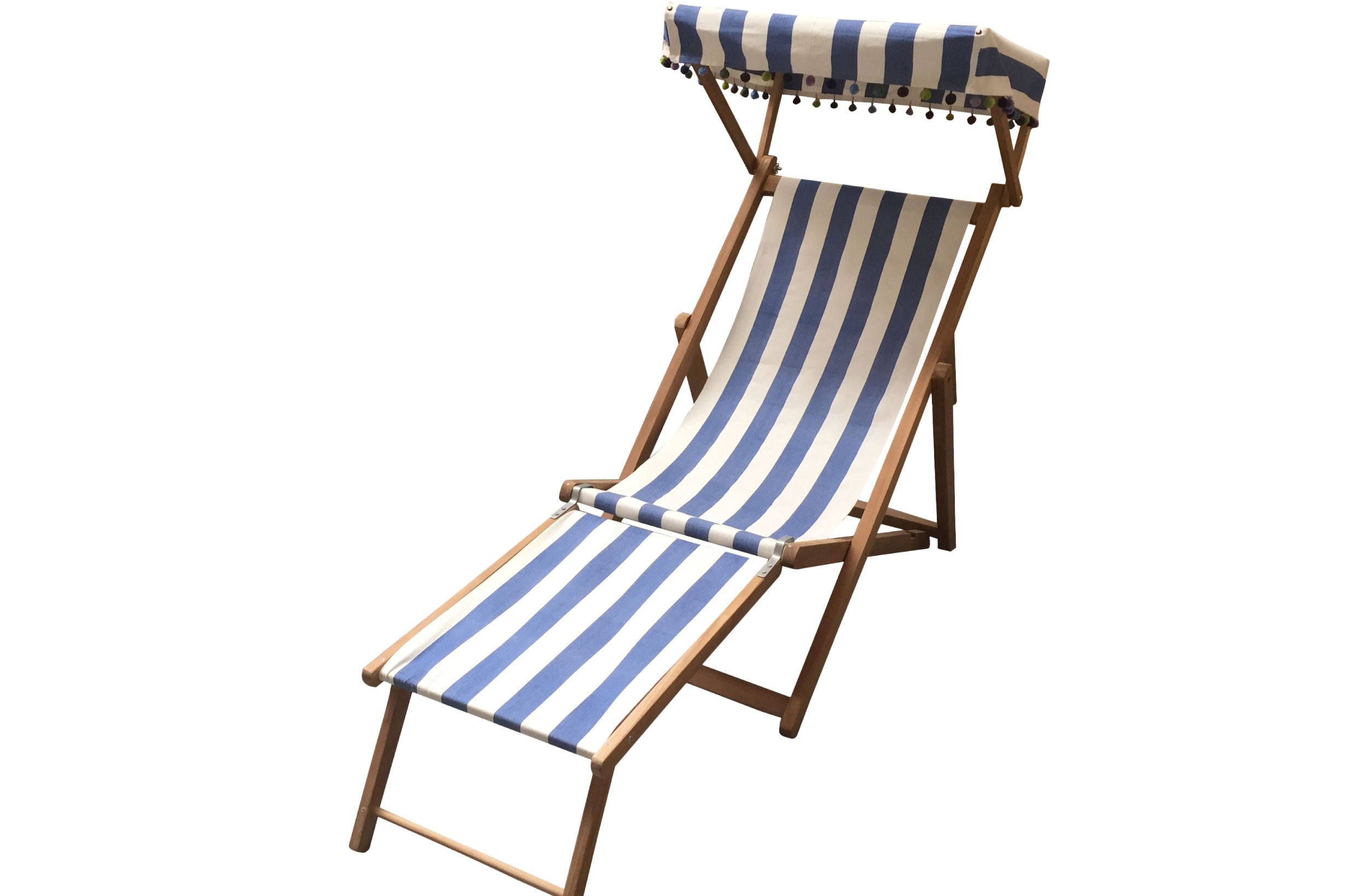 Blue & white striped Edwardian Deckchairs with Canopy and Footstool