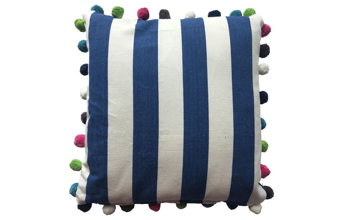 50x50cm Blue & White Striped Pompom Cushions