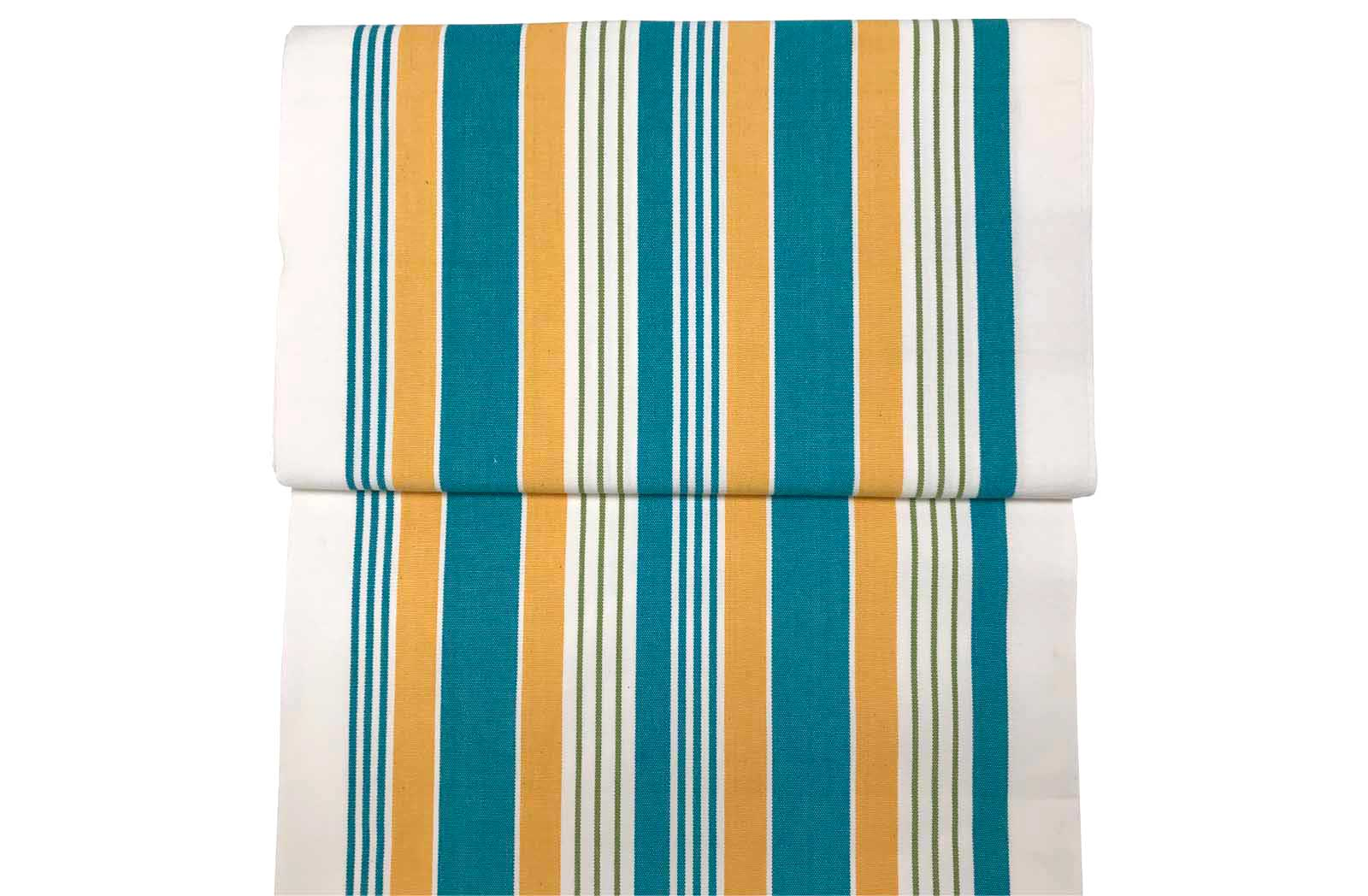 White, turquoise, yellow striped Deckchair Fabric