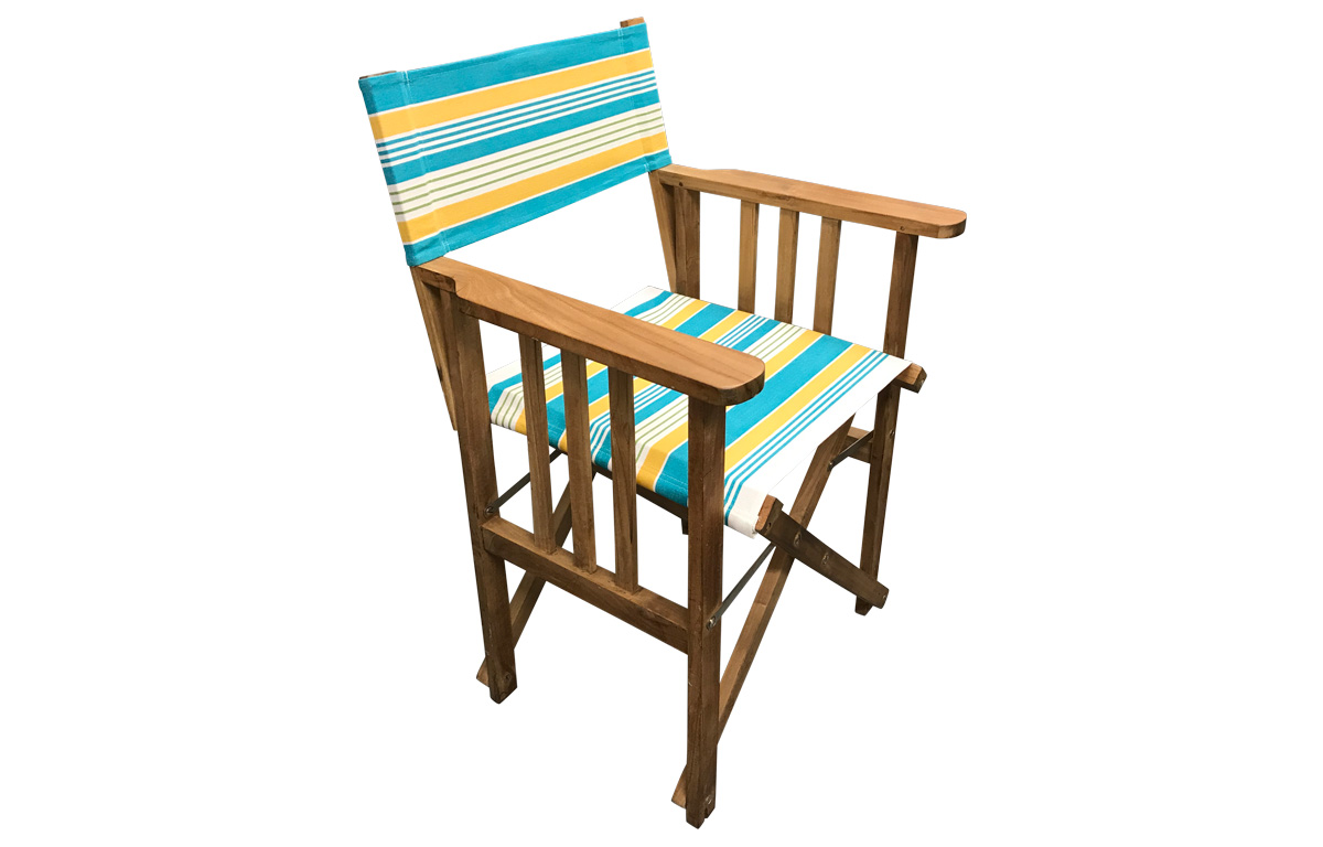 White, Turquoise, Yellow Stripe Directors Chairs