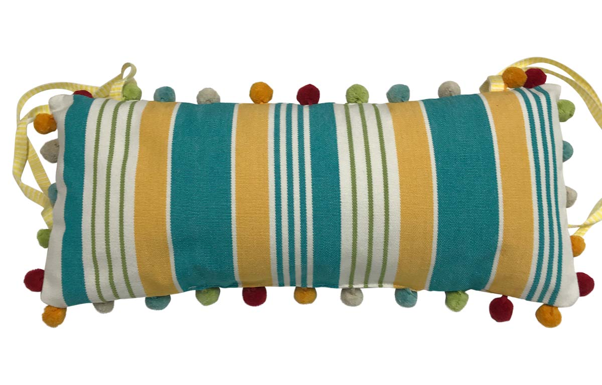 Turquoise, White, Yellow Stripe Deckchair Headrest Cushions | Tie on Pompom Headrest Pillow