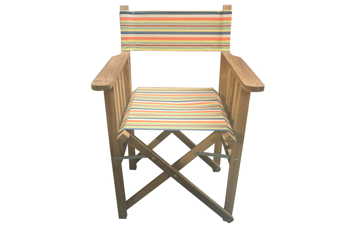 Director Chair with dark blue, beige, orange stripe covers