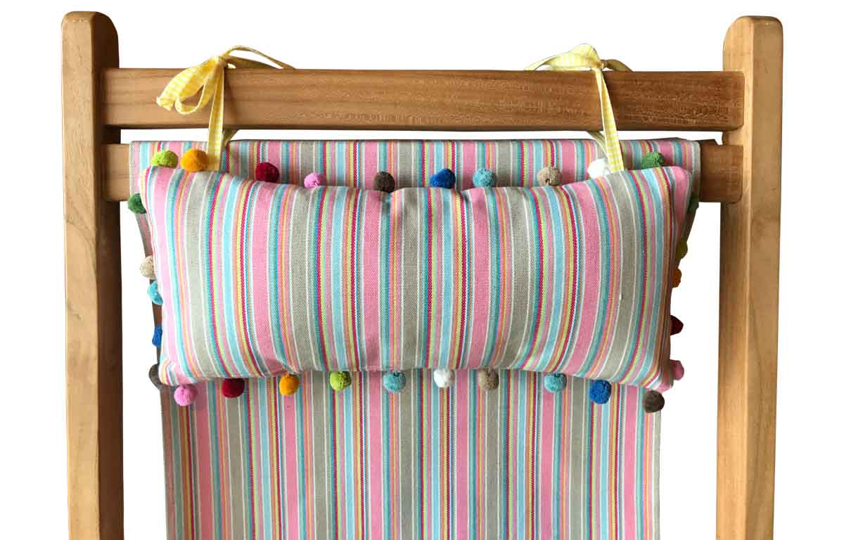 Pink Taupe Stripe Deckchair Headrest Cushions | Tie on Pompom Headrest Pillow