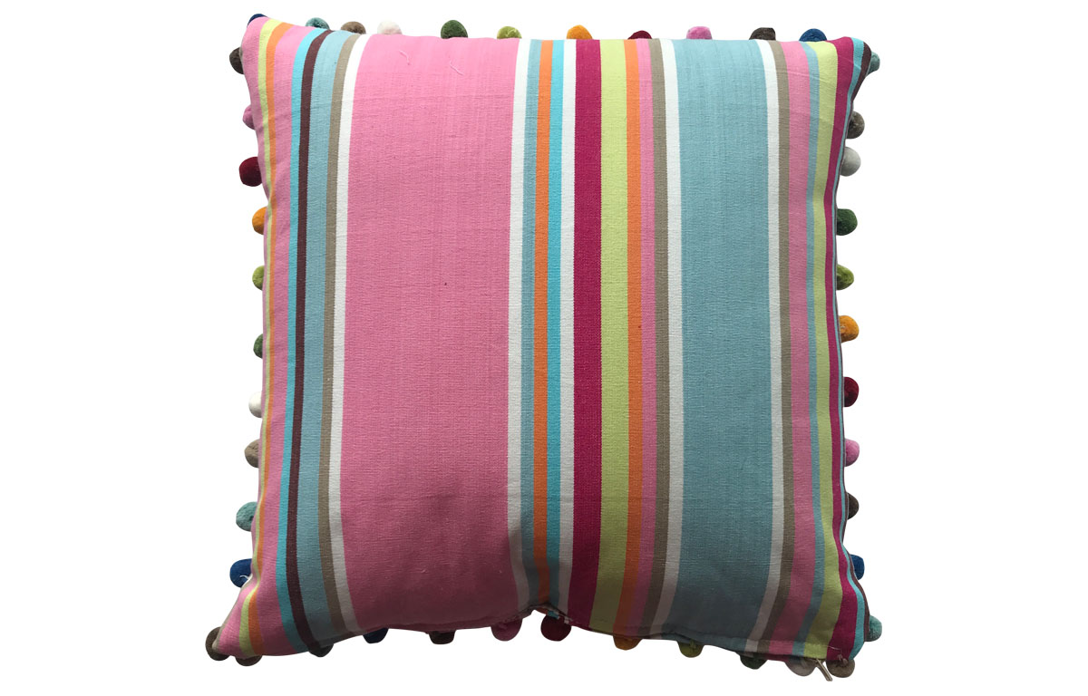 50x50cm Pink, Taupe and Light Blue Striped Pompom Cushion