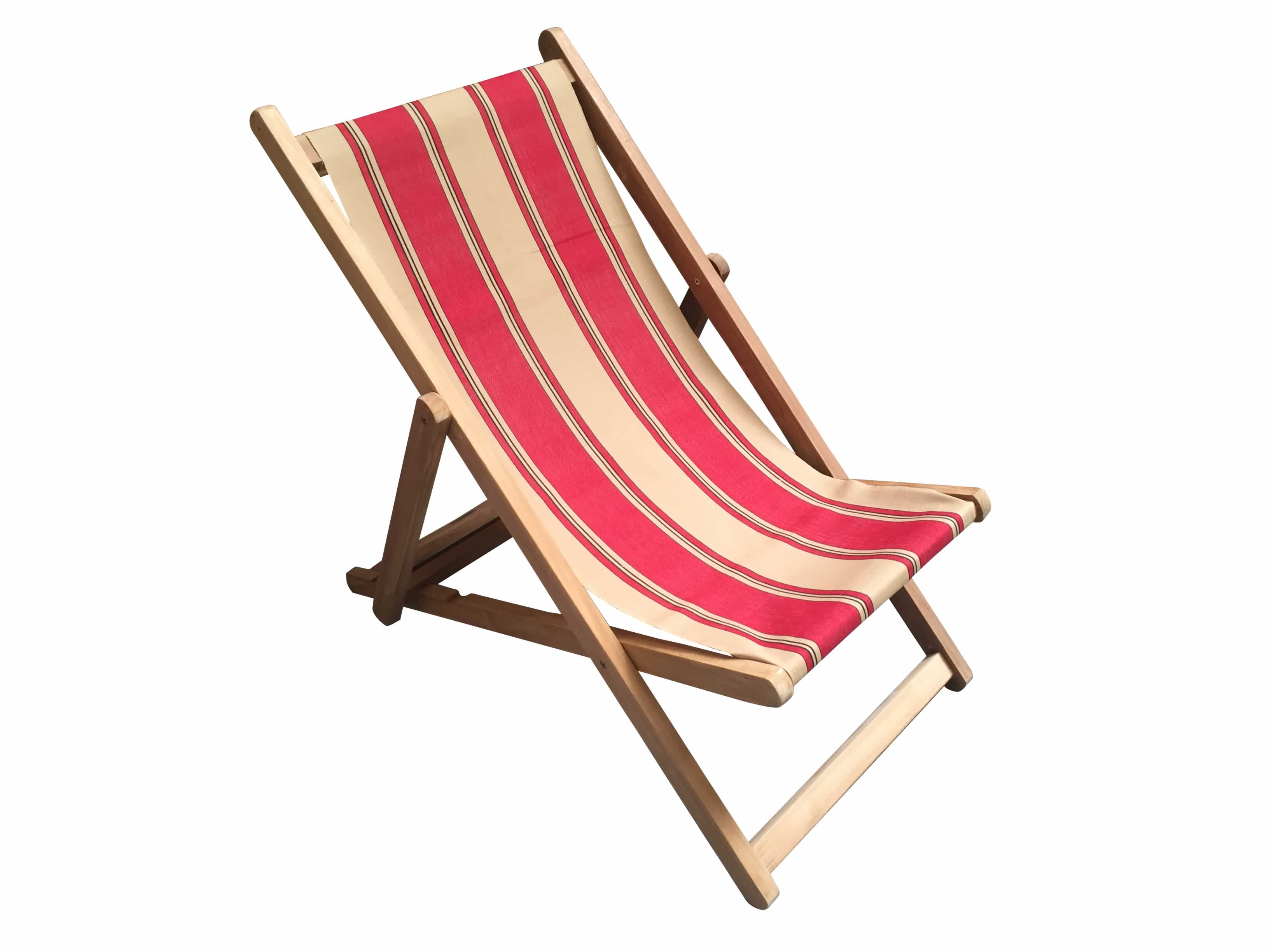 Red Deckchairs | Folding Wooden Deck Chairs - Steeplechase Stripe