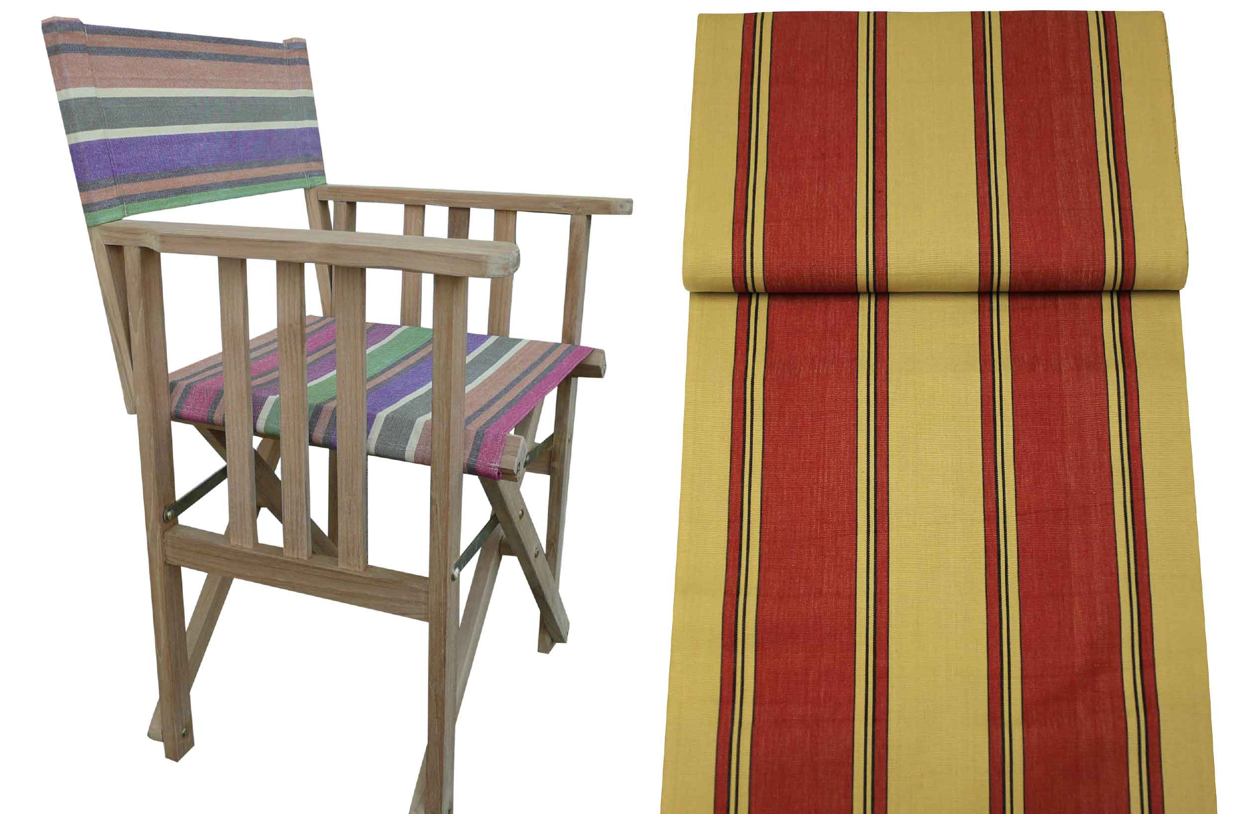Teak Directors Chairs - Steeplechase Stripe