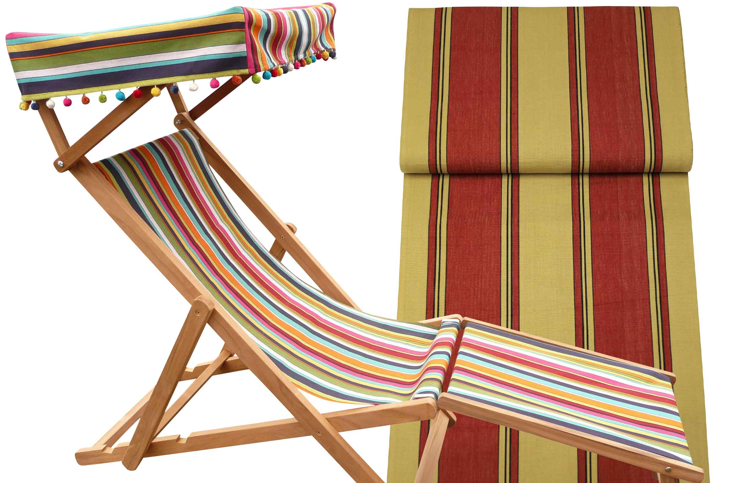 Edwardian Deckchairs with Canopy and Footstool red and beige wide stripes lined with thin black