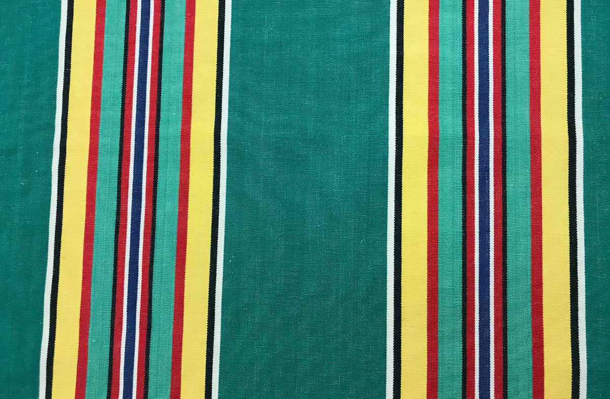 145 cm wide YELLOW STRIPED COTTON CANVAS  FABRIC VINTAGE BLUE