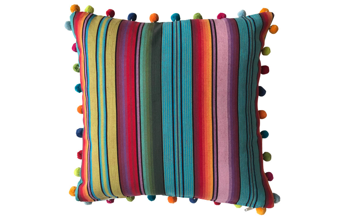 50x50cm Striped  Pompom Trimmed Cushions blue, green, orange