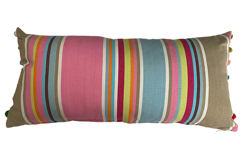 pink stripe oblong pom pom cushion