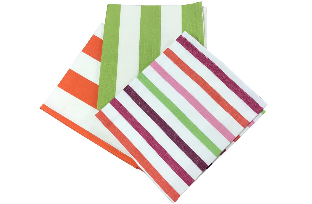Green and Orange Striped Tea Towel Set