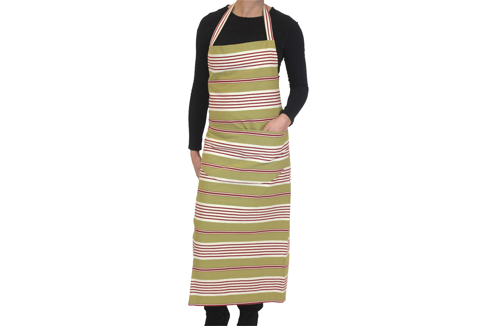 Olive Striped Apron Olive  Red  White Stripes