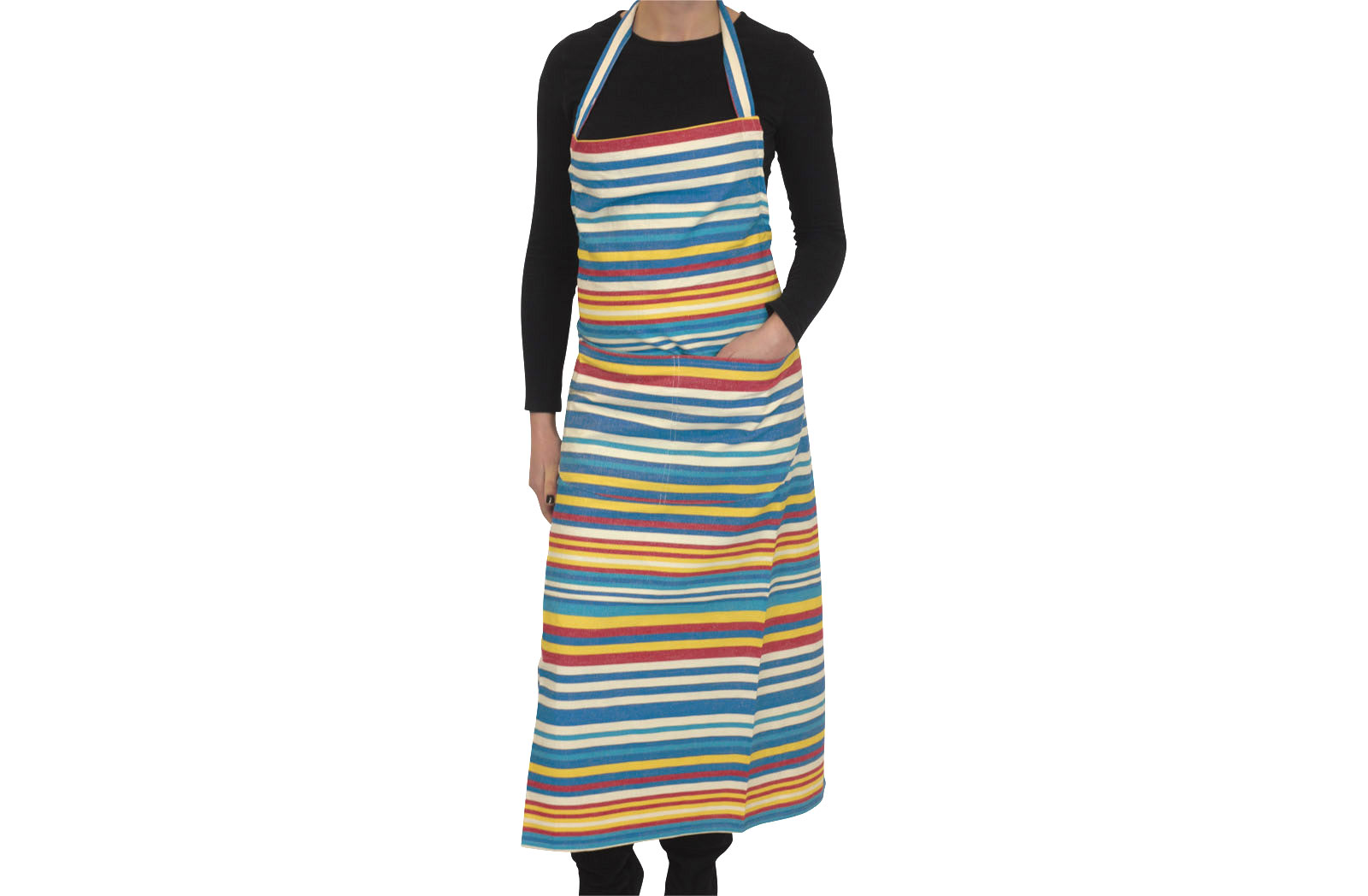 Denim Blue Striped Aprons Denim Blue  Cream  Turquoise  Stripes