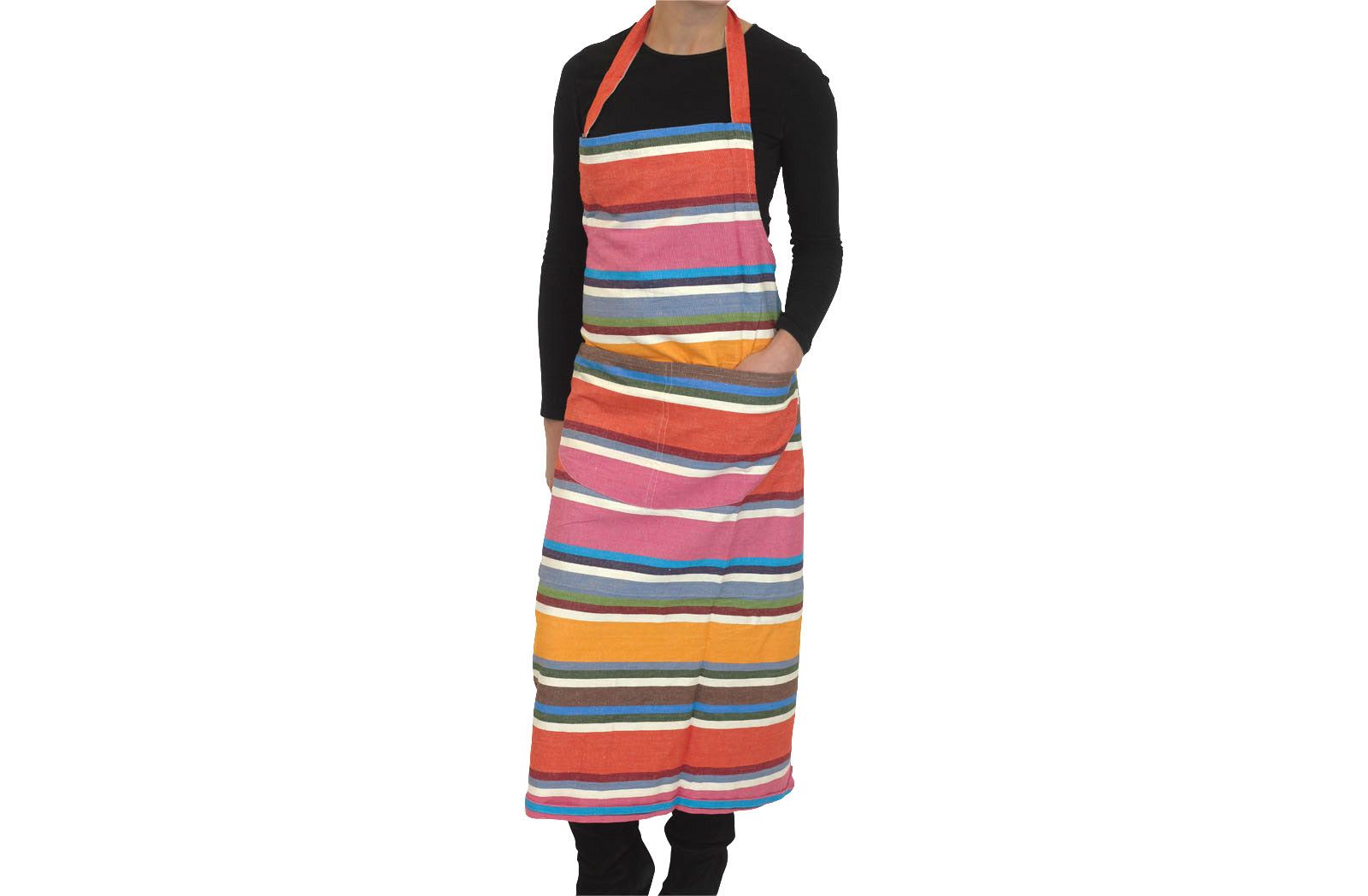 Pink, Blue, Coral and Tangerine Striped Apron