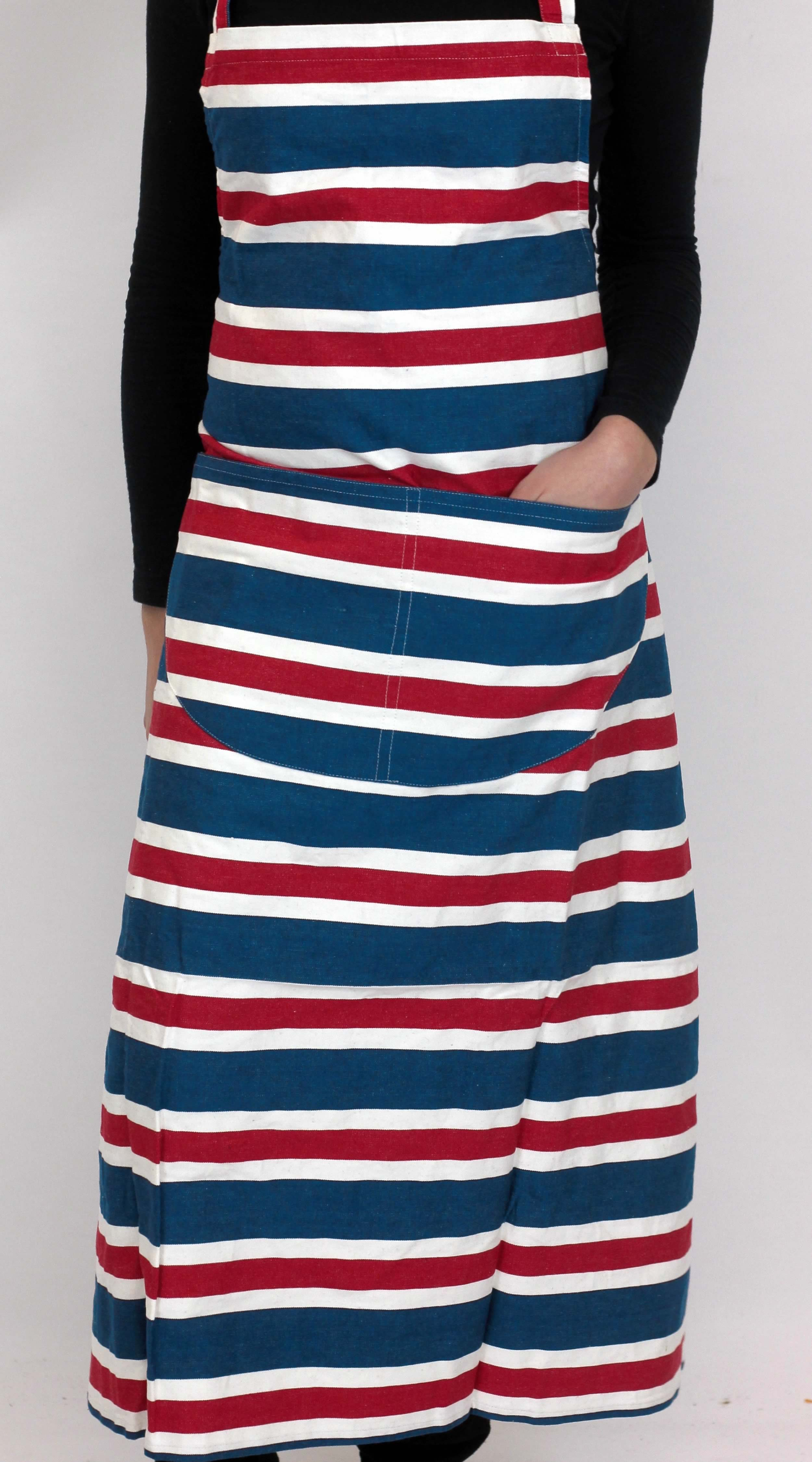 Blue Striped Aprons Blue  Red  White Stripes