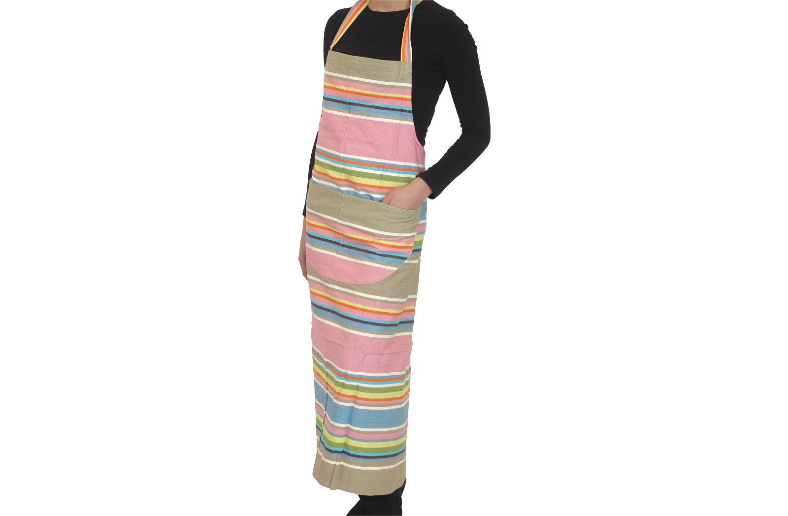 Pink Stripe Apron Pink Grey Blue Stripes