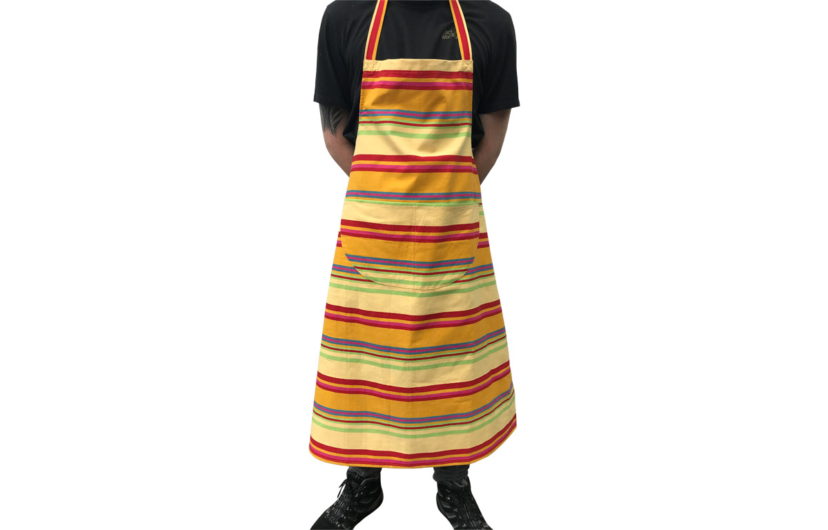 Yellow Striped Aprons - Pale Yellow Gold Pink Red Stripes