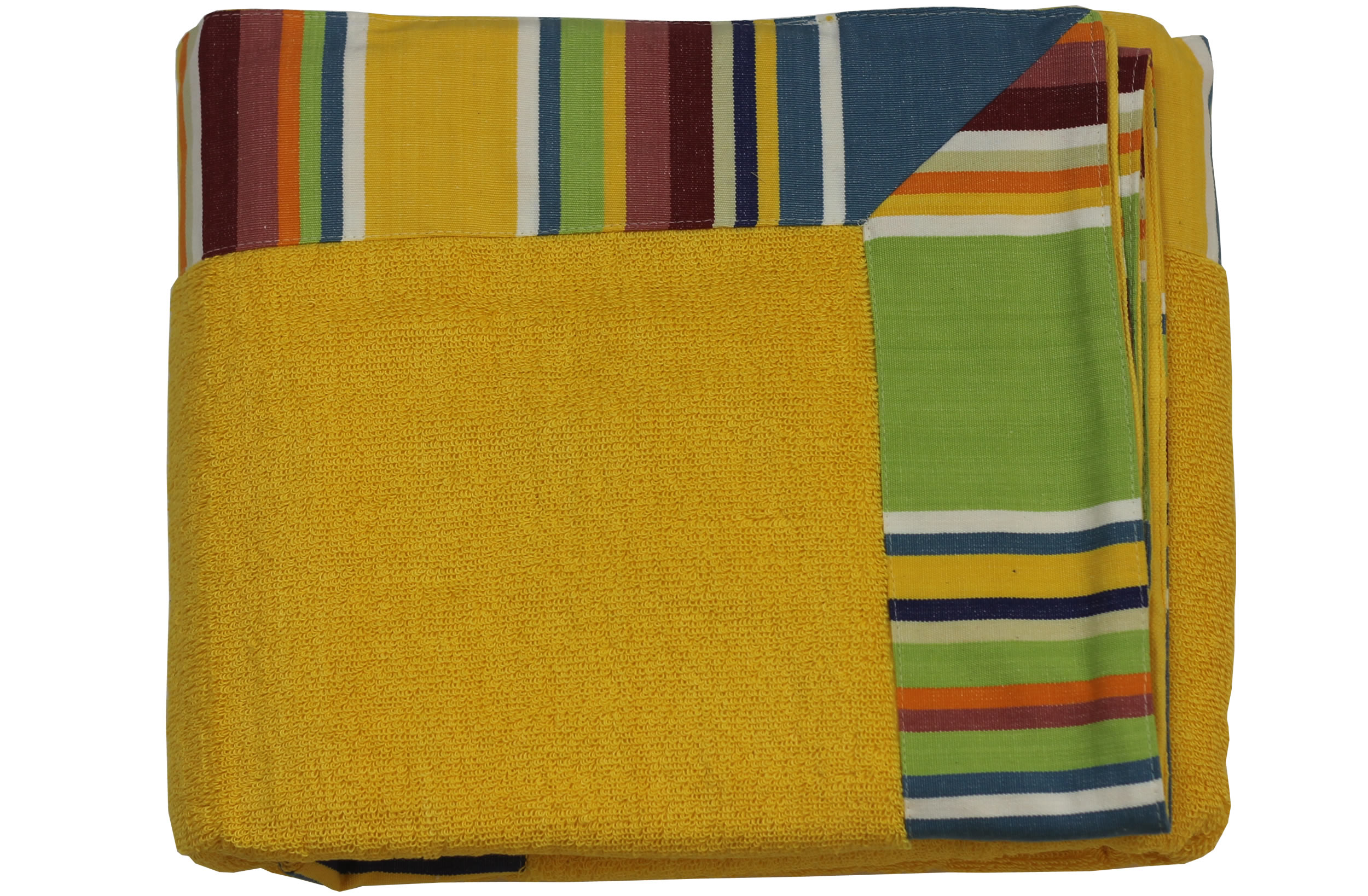 Yellow Extra Large Beach Towels with Striped Border