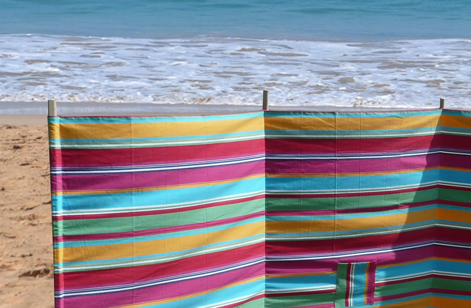 Multi Stripe Windbreaks with 4 poles | Karting Pink