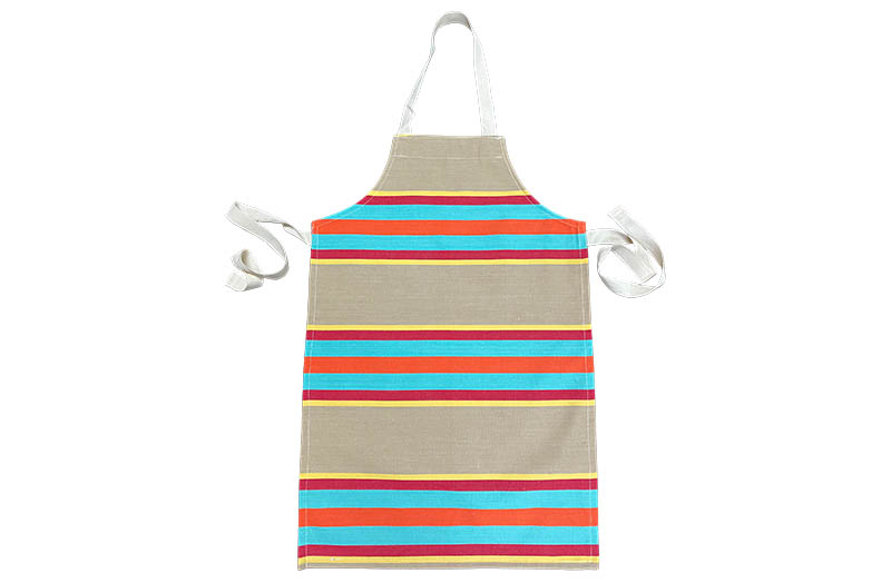 Fawn, Turquoise, Red Stripe Childrens Aprons