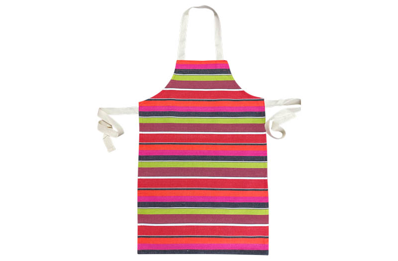 Fuschia Pink, Coral, Lime, Black Stripe Childrens Aprons