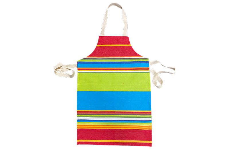 Lime, Turquoise and Red Striped Childrens Aprons