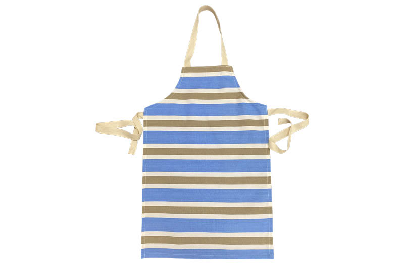 Sky blue, beige, white Striped Childrens Aprons