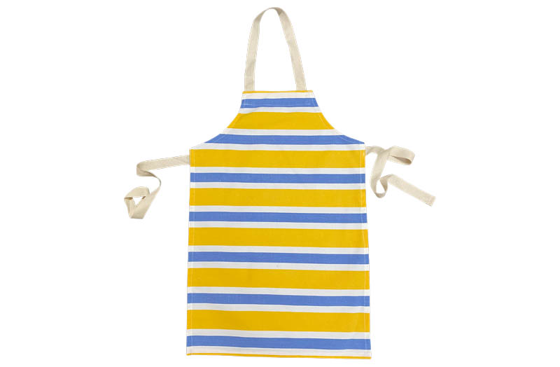 Striped Childrens Aprons Yellow, sky blue, white