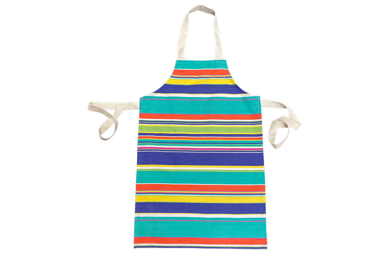 Turquoise, pale green, royal blue Striped Childrens Aprons