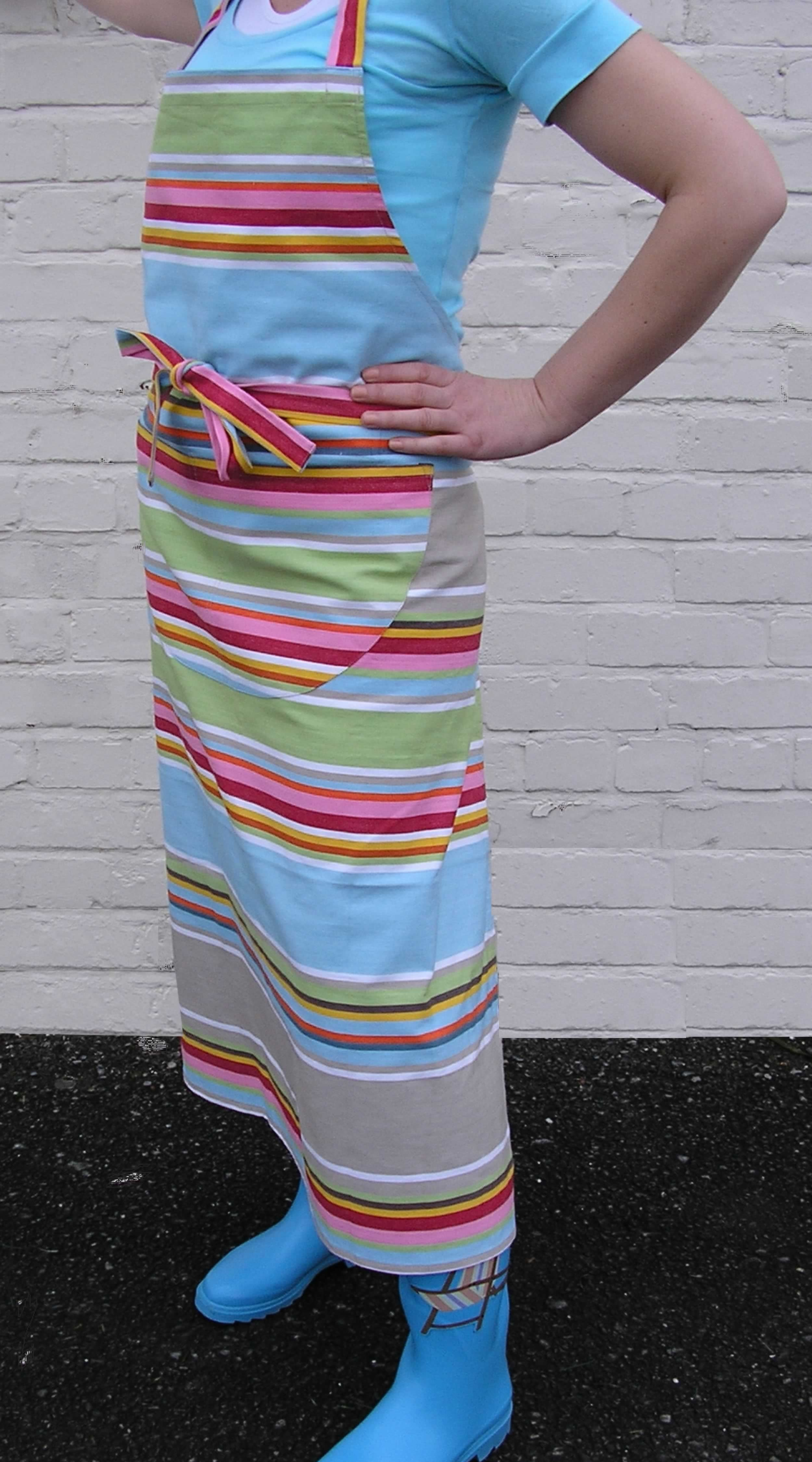 Duck Egg Blue Striped Aprons Duck Egg Blue  Beige  Light Green  Stripes