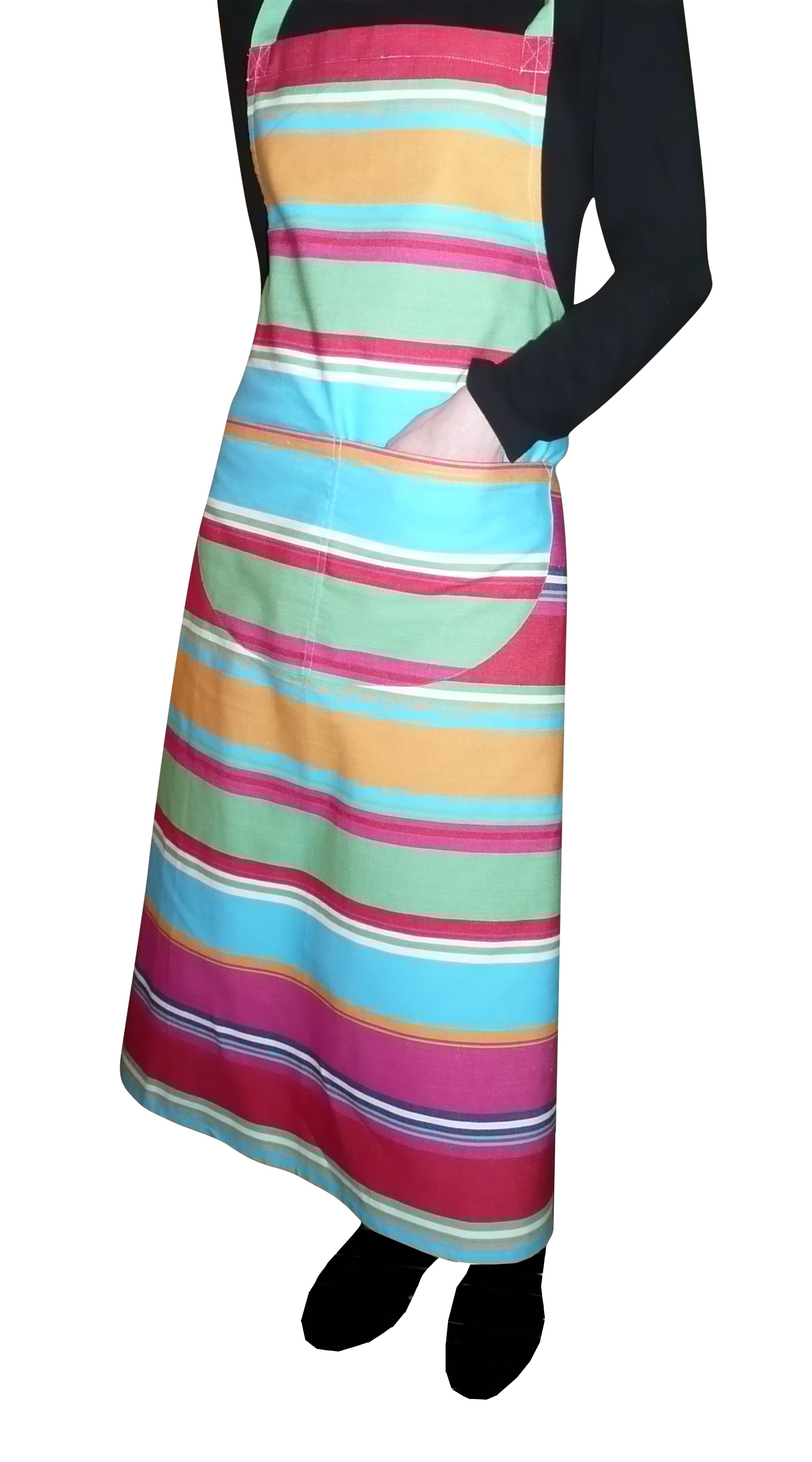 Pink Striped Aprons Pink  Green  Yellow  Stripes
