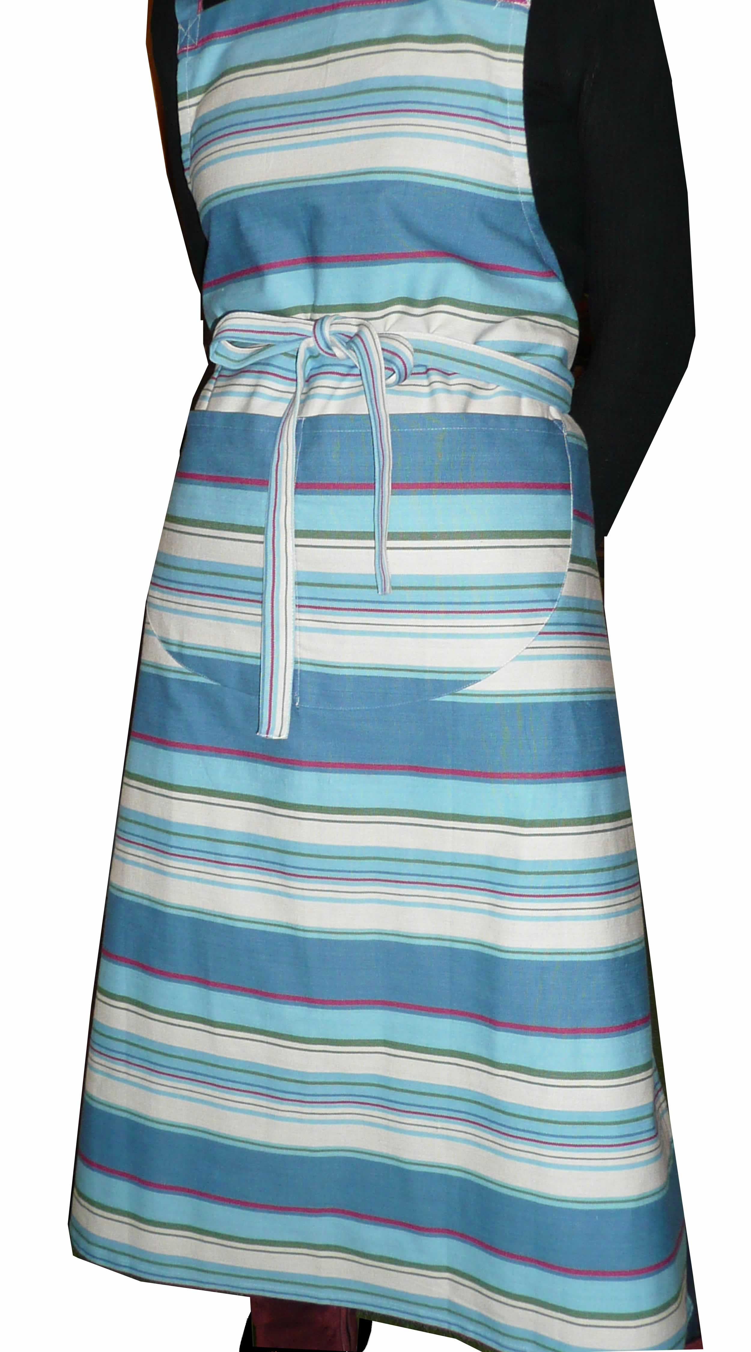 Striped Cotton Apron petrol blue, pale blue, cream stripes