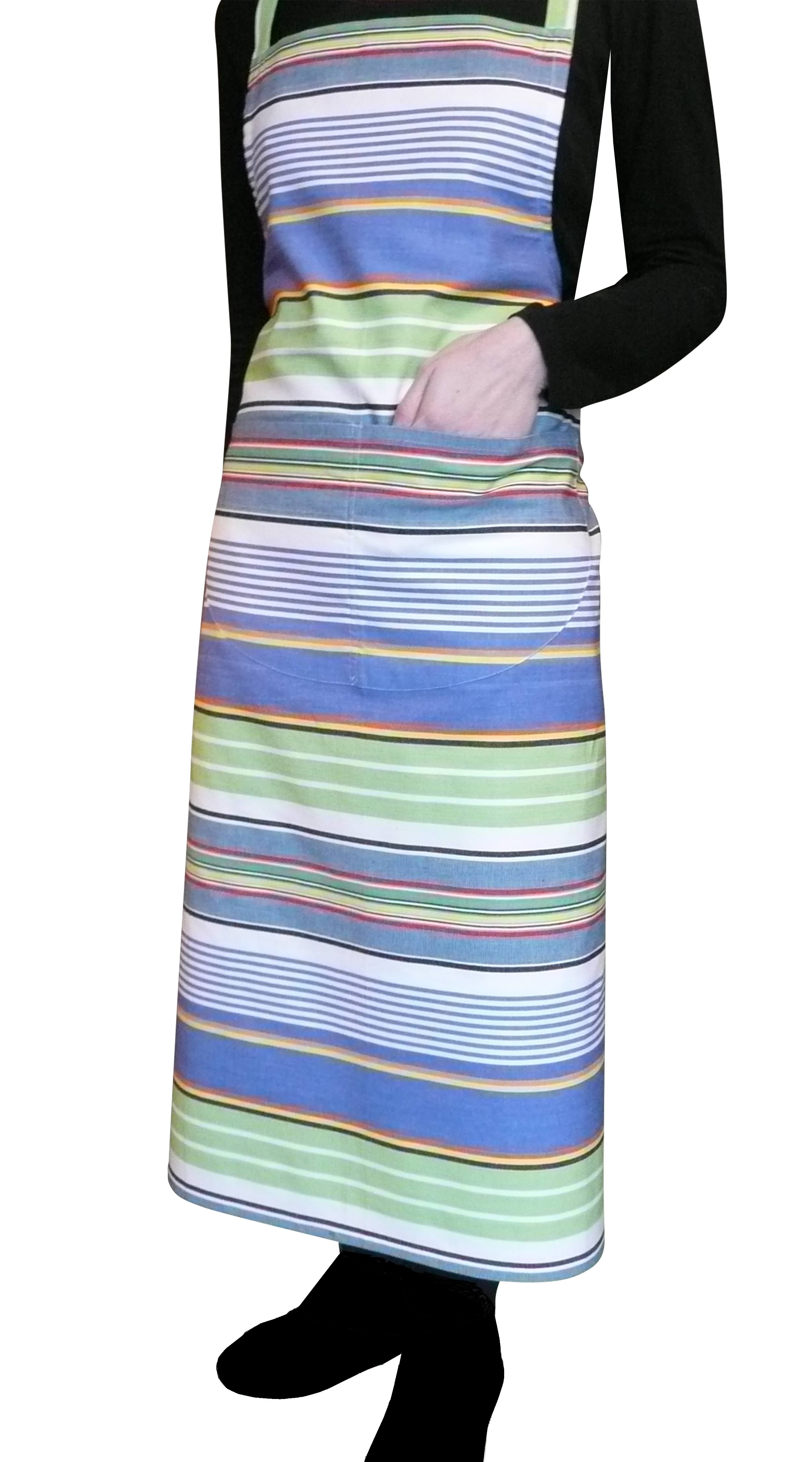 Tumbling Striped Cotton Apron bright blue, denim blue, lime green