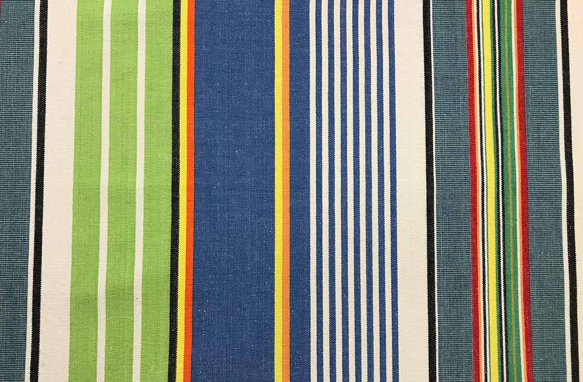 Blue And Green Striped Fabric Tumbling Stripe