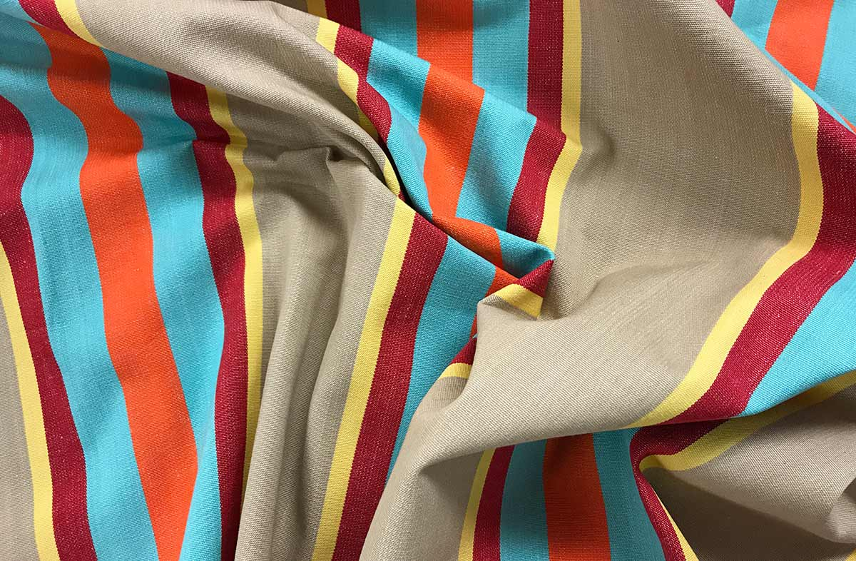 Vintage Look Fawn Striped Fabric with terracotta, turquoise, dark red and lemon yellow stripes