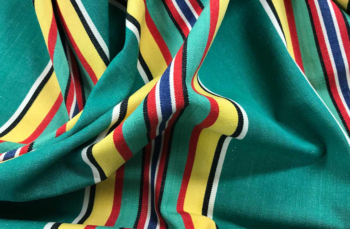 Retro Green Striped Fabric