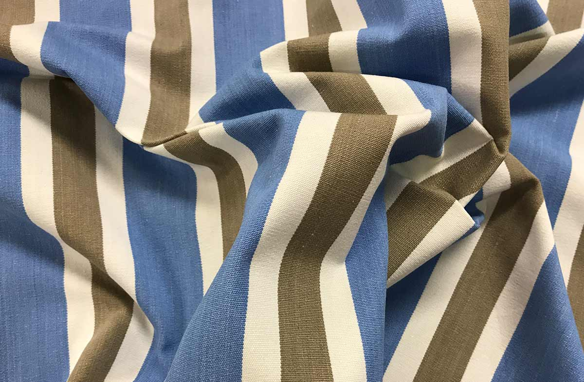 Sky Blue Striped Fabrics | Sky Blue, Beige and White Stripe Cotton Fabric