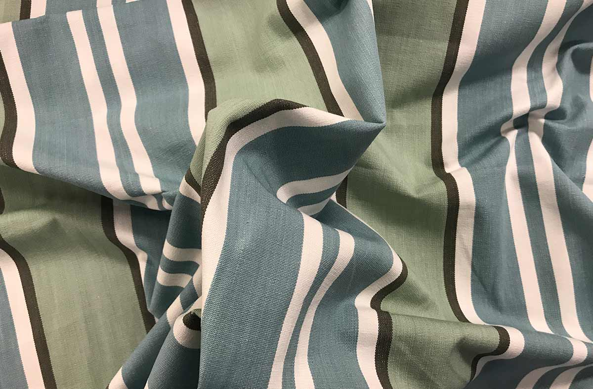 Teal Striped Fabric | Teal and Aqua Stripe Cotton Fabric