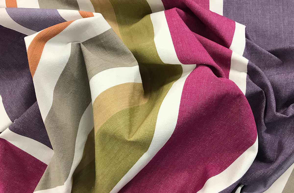Purple Lilac and Mauve Striped Fabric