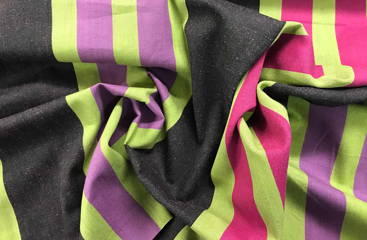 Black, pink, lime green, purple Stripe Fabric