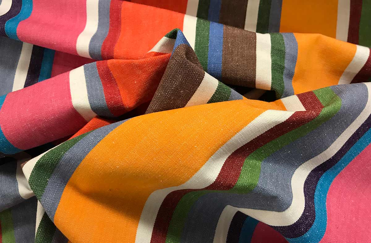 Pink, Denim Blue, Orange Stripe Fabric