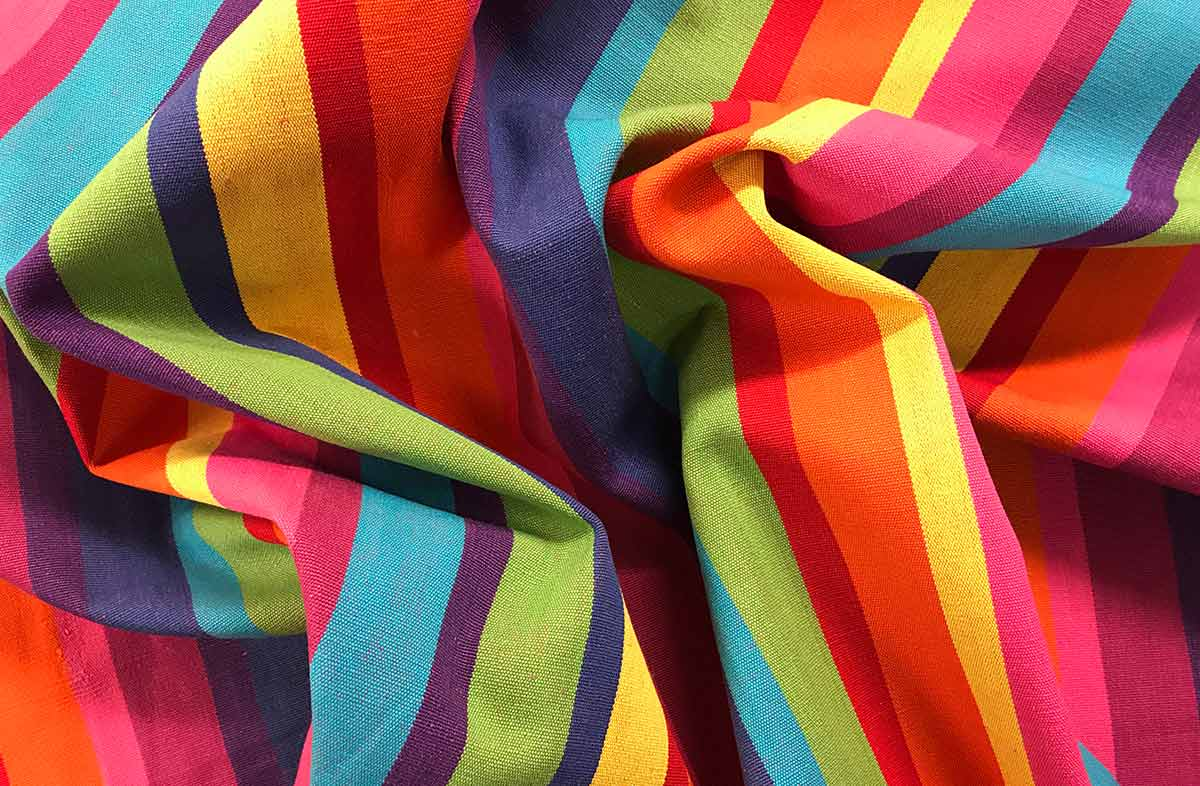 Multicolour Striped Fabric - Rummy